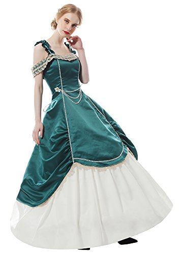Lemail Womens 1800s Victorian Era Dress Renaissance Medieval Masquerade Dresses Green XXL (Era Gown)