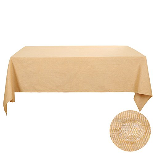 Deconovo Table Cloth Yellow Rectangle Recycle Cotton Tablecloths Linen For Rectangle Tables 60 x 84 Flaxen Melange
