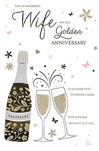 ICG-8418 Stunning Wife Golden Anniversary Card from ICG Greeting Card for Her Foil and Flitter Finish Beautiful Embossed Sparkly Champagne Celebration