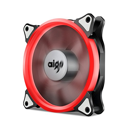 Aigo, Halo LED Ring Fan 120mm 12cm PC CPU Computer Case Cooling Neon Quite Clear Fan Mod 4 Pin/3 Pin (Red) ()