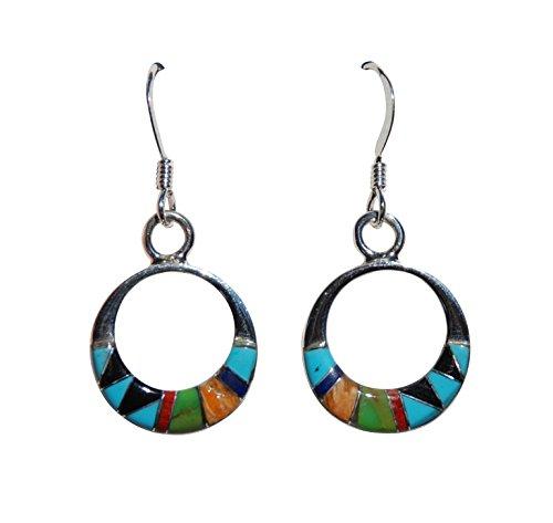 Hoop Earrings Cased in Sterling Silver w/ Synthetic Turquoise, Lapiz & Onyx w/ Orange Shell & Sugilite