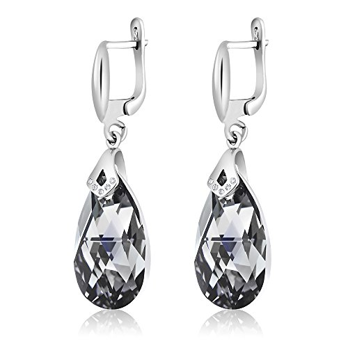 Nirano Collection Black Teardrop Earrings & CZ Created with Swarovski Crystals Photo #3