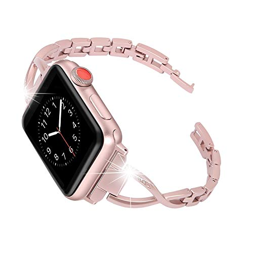 Happiere Compatible Apple Watch Band 44mm Series 4 Stainless Steel Bracelet iwatch Bands for Women - Designer Diamond Rhinestone Replacement Wristband Strap for Apple Watch - Rose Gold