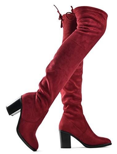 - Women's Haley Over The Knee Pull On Boot - Drawstring Back Comfort Block Chunky Heel Pointy Round Toe Wine SU 8.5