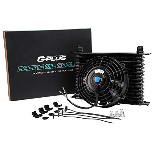 "15 Row 10AN Universal Engine Transmission Aluminum Oil Cooler With 7"" Electric Fan Kit Black"