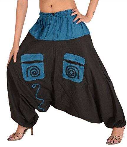 Skirts & Scarves Mujer Nuevo Jalebi pijama algodón Boho Gitana bolsillo elástico pantalones de Genie Black & Blue 2