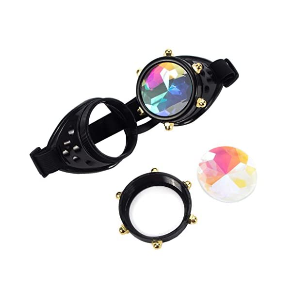 Careonline Festivals Kaleidoscope Gloth Vintage Rainbow Prism Sunglasses Steampunk Goggles Adjustable Bands 7
