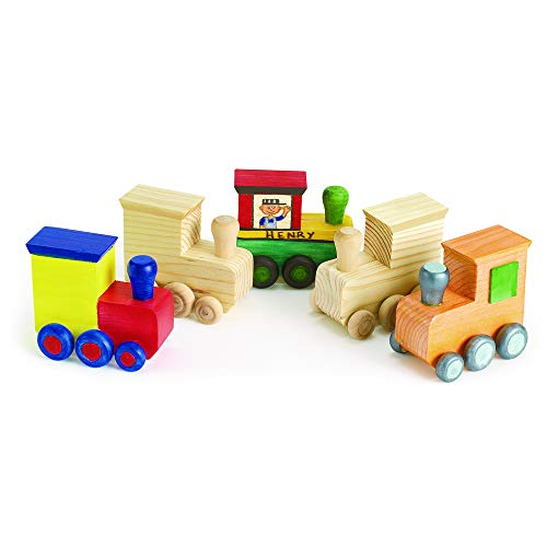 Colorations Kids Decorate & Paint Your Own Wooden Trains DIY Craft Kit (Item # LOCO)