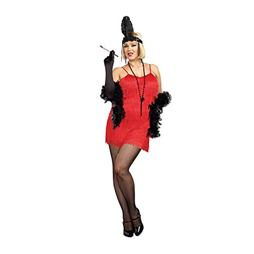 Black Flapper Adult Plus Costumes (Red Flapper Plus Size Adult Costume)