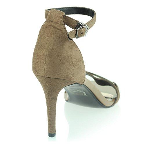 Mujer Señoras Punta Abierta Correa de Tobillo Dos partes Noche Casual Boda Fiesta Prom Diamante Tacón Alto Sandalias Zapatos Tamaño Caqui