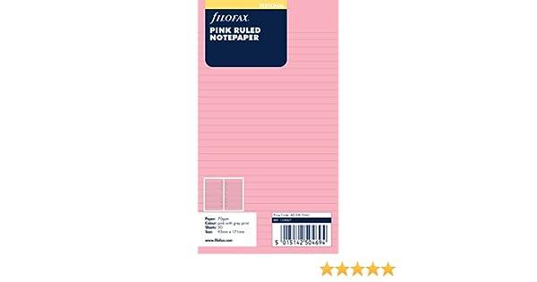 Filofax Personal - Recambio para agenda de anillas, hojas rayadas, color rosa