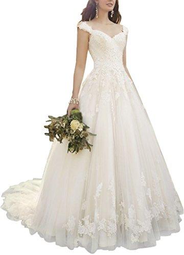 Kevins Bridal Vintage Lace Appliques Wedding Dresses 2017 Cap Sleeves Romantic Wedding Gowns Ivory Size 8 ()