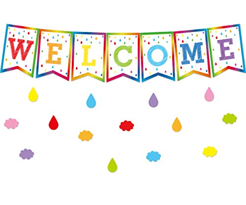 Welcome Bulletin Board Set Classroom Decoration Colorful Pennants for Back to School