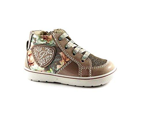 PRIMIGI 65341 zapatos de niña de flores de color beige zapatilla de deporte de cremallera lateral mediados Beige