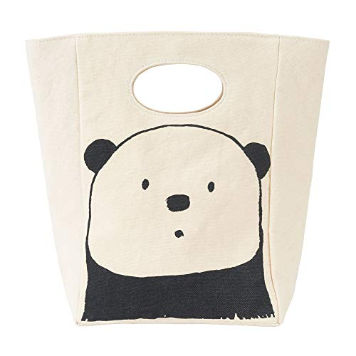 Wild Animals Lunch Box - Fluf Canvas Lunch Bag | Lunch Box for Men, Women, Kids | Organic Cotton Meal Tote with Built-In Handle | Panda