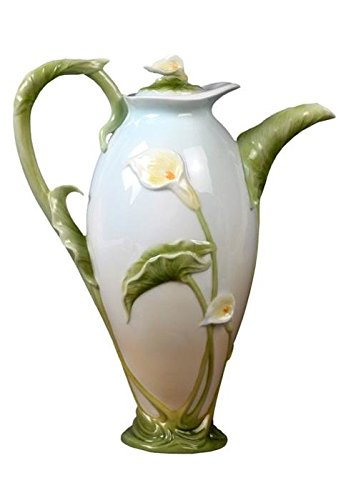9.5 Inch Pale Blue Glazed Porcelain Calla Lily Teapot and Stem Handle (Calla Lily Pot)