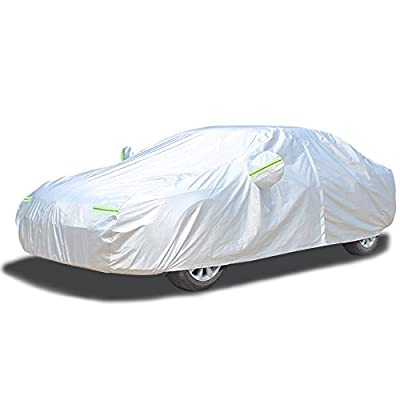 LINFEN Car Cover Waterproof All Weather All Season Car Covers with Cotton Zipper Sun Rain Snown Protection for Vehicle Indoor Outdoor Four Layers Fit Sedan