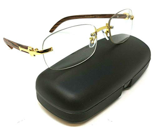 Dean Slim Rimless Metal & Wood Eyeglasses/Clear Lens Sunglasses - Frames (Gold & Cherry Wood w/Case, ()