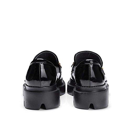 Gruesa Suela Negro Negro o de Zapatos Zapatos 39 Trabajo Salvaje o Planos Bullock de Tama Tama Color 37 de Zapatos Mujer 34 Zapatos W8FHw