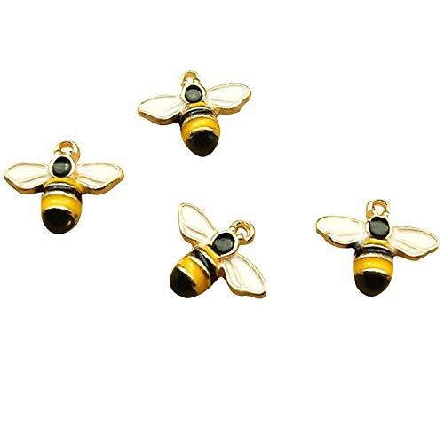 SANQIU 20PCS Enamel Cute Bee Charm for Jewelry Making