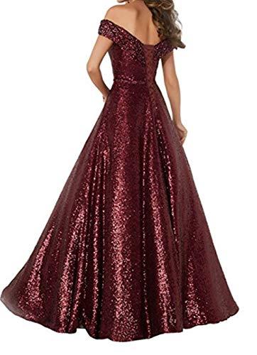 Formaldresses Off Shoulder Sequins Prom Dresses Long for Women Formal  Evening Dress Plus Size Red Black Rose Gold (2, Burgundy)