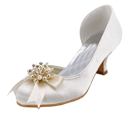 Minishion Damessandeel Hak Satijn Bruiloft Feest Avond Prom Pumps Schoenen Ivoor-6.5cm Hak