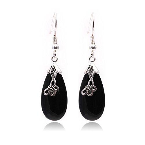 GEM-inside Earrings Black Agate Gemstone Beads Drop Drip Tibetan Silver Dangle Stud Hoop Fashion Jewelry for Woman -