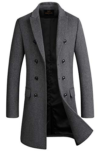 Men's Premium Wool Blend Double Breasted Long Pea Coat (Grey, Large)