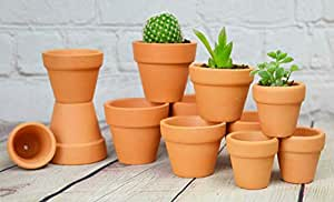 My Urban Crafts Mini Terracotta Clay Pots - 3 Different Size Assortment - Great for Baby Succulent Cuttings & Propagating, DIY Craft Projects, Wedding & Party Favors (12 Pcs Variety Pack)