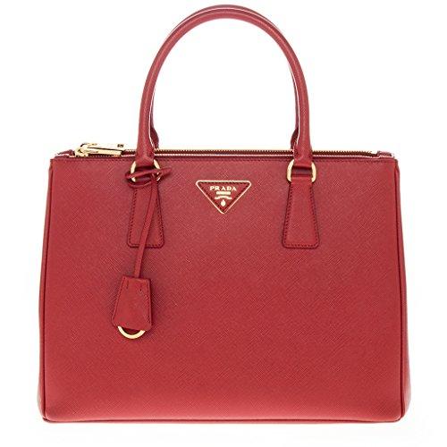 Prada Women's Calfskin Double-Zip Galleria Tote Bag Red
