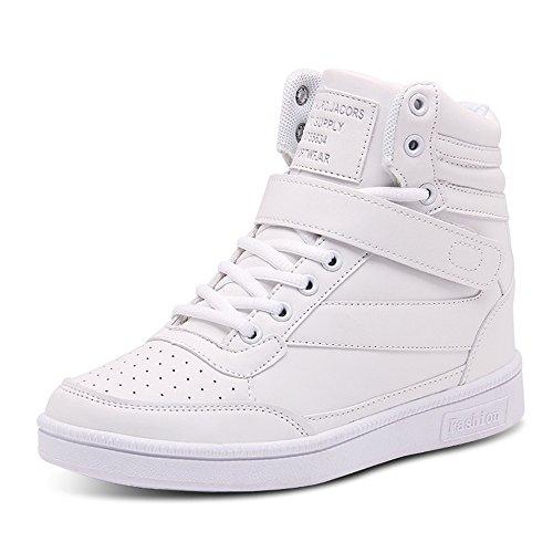 traspirante 01 Sneaker Ginnastica da Scarpe Casuale sportive Zeppa Donna BAINASIQI cuneo Alte Interna piattaforma stivaletti Bianco catena Scarpe qTOK0d