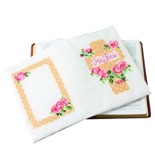 Bucilla 65609 Stamped Cross Stitch Kit Wild Rose Bible Cover
