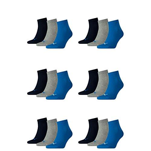 18 pair Puma Sneaker Quarter Socks Unisex Mens & Ladies 277 - blue / grey mélange