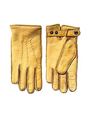 Men's warm peccary winter leather gloves with button