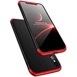 ATRAING iPhone X Case, Trading Ultra-Thin PC Hard Case Cover For Apple iPhone X (Red+Black+Red)