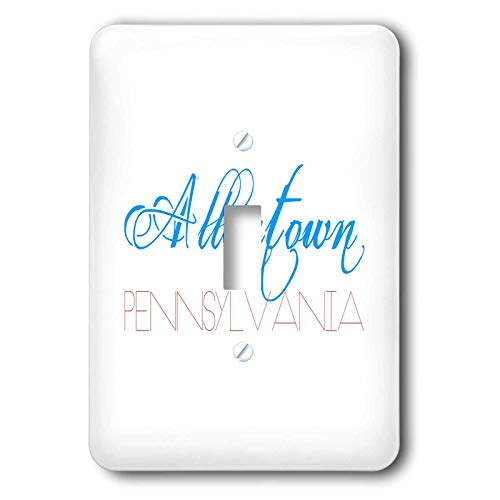 3dRose Alexis Design - American Cities - Fascinating text Allentown Pennsylvania of blue, red colors - Light Switch Covers - single toggle switch (lsp_292370_1)