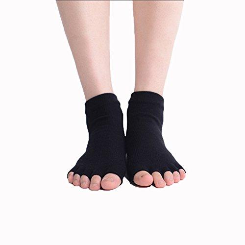 Jiexing Non Slip Breathable Half Toe Ankle Grip Yoga Socks for Women-Black