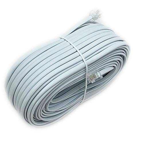 - iMBAPrice 100 Feet Long Telephone Extension Cord Phone Cable Line Wire - White