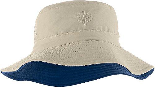 Coolibar UPF 50+ Kids' Reversible Bucket Hat - Sun Protective,Small/Medium,Stone/Navy