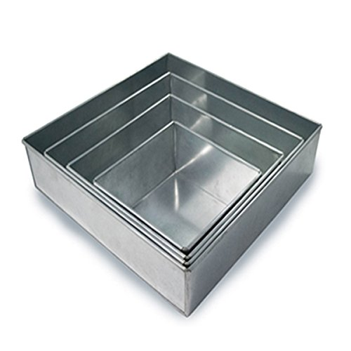 - Set of 4 Tier Square Multilayer Birthday Wedding Anniversary Cake Tins/Mold (Mould) by Hufsy 4