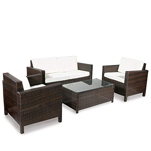 Merax 4-Piece Rattan Sectional Sofa Couch Loveseat Chairs Indoor/Outdoor Patio Furniture Sets Rattan Chair Wicker Set (Beige Cushion)