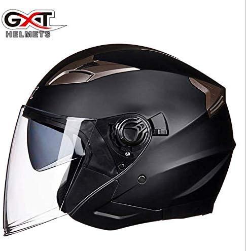 Casco de motocicleta el/éctrica doble lente personalidad masculina y femenina medio casco temporada seguridad