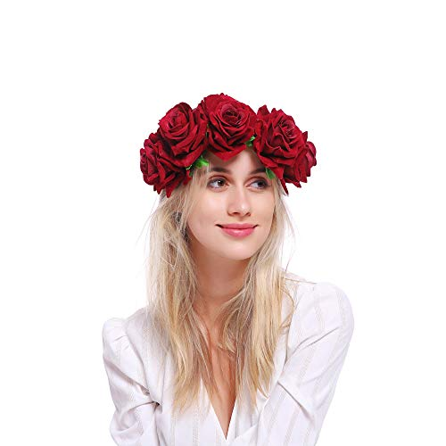 Pack of 2 Rose Flower Crown Hair Garland Frida Kahlo Inspired Party Day of the Dead Festival Halloween Party Headband Headpiece,2 pcs]()