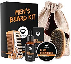 MayBeau Beard Kit for Men 8 in 1 Beard Growth Grooming & Trimming with Unscented Leave-in Conditioner Oil,Beard shaping, Beard Balm Butter Wax, Brush and Comb Ultimate Trimmer Set for ()