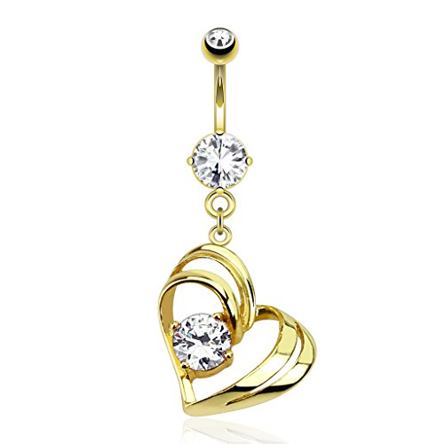 Inspiration Dezigns Single Pronged Gem in Hollow Heart Dangle 14kt Gold Plated Navel Ring ()