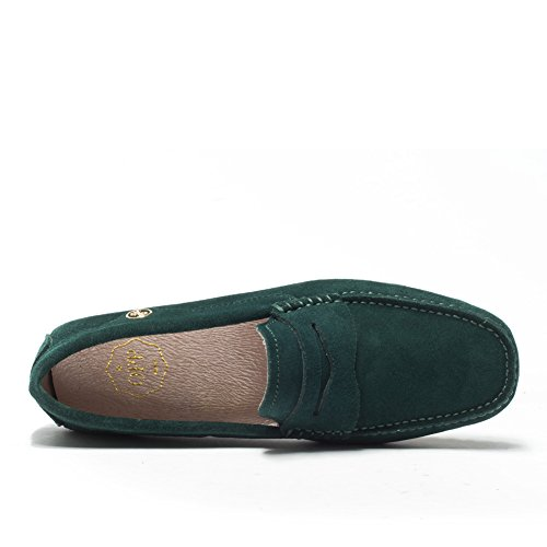 Opp Hombres Oxfords Leather Boat Zapatos Slip Antideslizante En Color Verde Oscuro