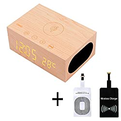 WALTSOM Wireless Charger Speaker, Multi-Function Wooden LED Digital Clock Bluetooth Speaker with Built in Mic, NFC, Temperature/Time Display, Alarm Clock for Smartphones Laptop Home Use (Light Wood)
