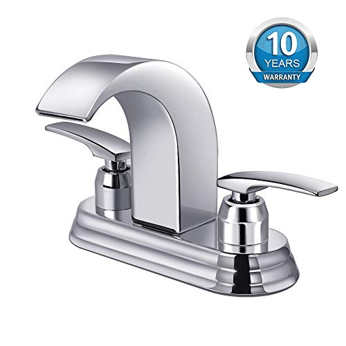 Bathroom Faucet, Widespread Bathroom Sink Faucet with Two Handles Chrome Finish, Hot/Cold Water Mixer Waterfall Basin Faucet Perfect for 3 Holes Sink by Aposhion (4 inch complete sinck)
