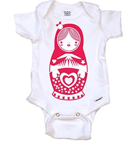 Matryoshka Doll Cute Newborn Baby Onesie, 0-3 MO, Organic White