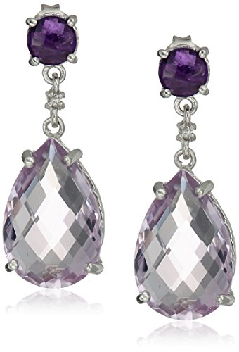 Sterling Silver Drop Earring with Rose-De-France, Amethyst and White Topaz Accent Stones